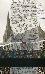 Abstract Art Collage Composition On Vintage Cathedral Postcard - Naomi Vona Art