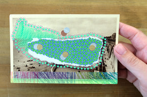 Mint Green And Purple Abstract Collage On Vintage Seascape Postcard - Naomi Vona Art