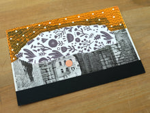 Load image into Gallery viewer, Black Orange Contemporary Collage On Vintage Postcard - Naomi Vona Art
