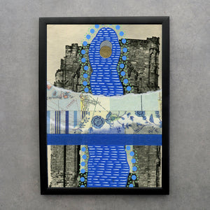 Abstract Blue Composition On Retro Landscape Postcard - Naomi Vona Art