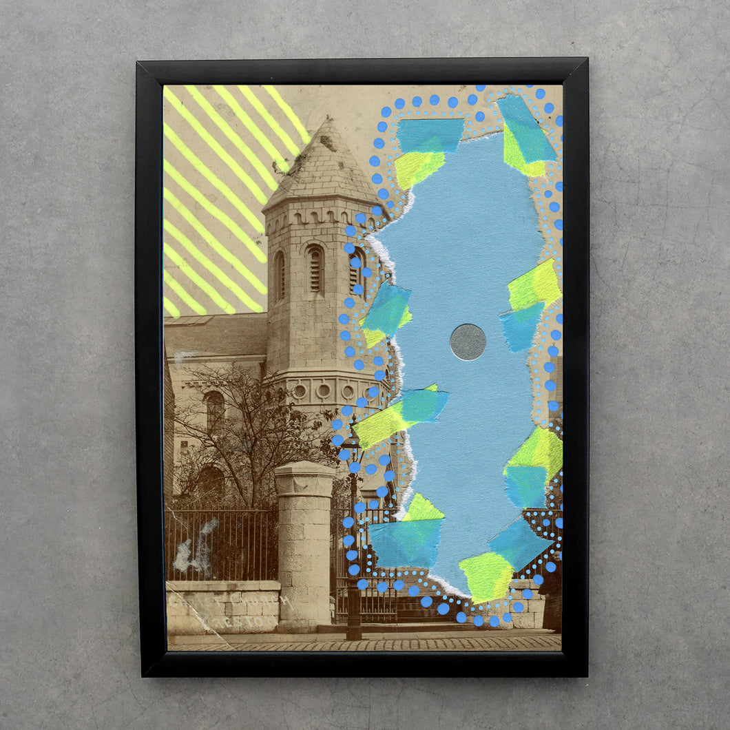 Neon Yellow Baby Blue Art Collage On Vintage Landscape Postcard Print - Naomi Vona Art