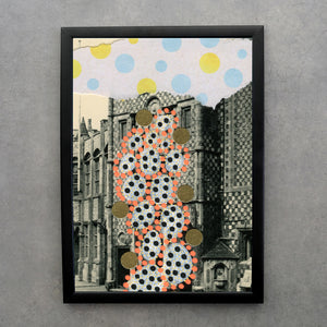 Dots Decoration Abstract Collage On Retro Postcard - Naomi Vona Art