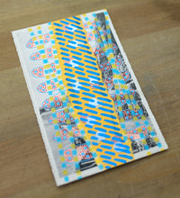Load image into Gallery viewer, Light Blue Yellow Mixed Media Collage Art On Vintage Retro Postcard - Naomi Vona Art