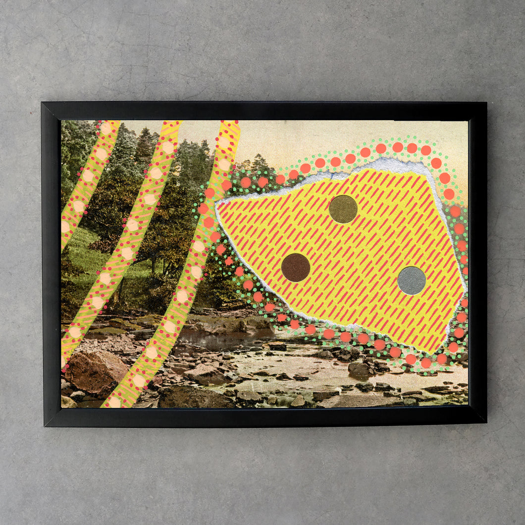 Yellow Abstraction On Vintage Natural Landscape Postcard Print - Naomi Vona Art