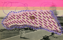Load image into Gallery viewer, Purple And Pink Mixed Media Art Collage On Retro Postcard - Naomi Vona Art