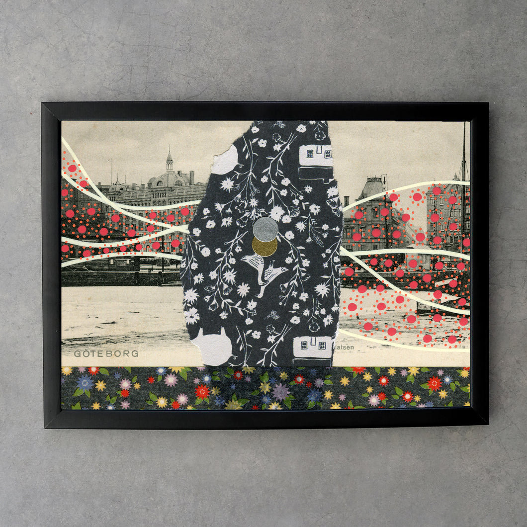 Red Black Abstract Collage On Vintage Postcard - Naomi Vona Art
