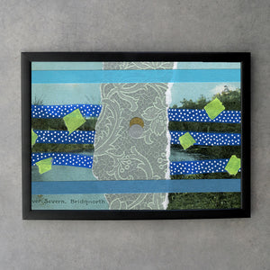 Blue Abstract Collage On Vintage Natural Landscape Postcard Print - Naomi Vona Art