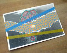 Load image into Gallery viewer, Mustard Turquoise Abstract Collage On Retro Vintage Seascape Postcard - Naomi Vona Art