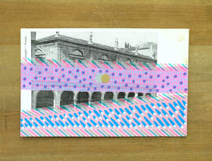 Pink Art Collage On vintage Verona City Postcard - Naomi Vona Art