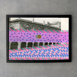 Vintage City View Postcard Altered With Pink Colours - Naomi Vona Art