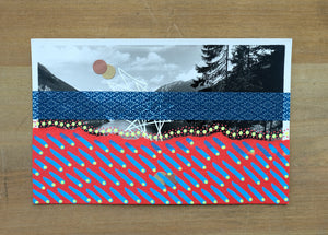 Red Blue Mixed Media Collage On Vintage Mountain View Postcard - Naomi Vona Art