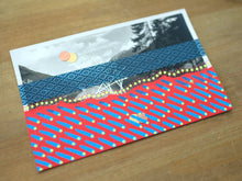 Load image into Gallery viewer, Red Blue Mixed Media Collage On Vintage Mountain View Postcard - Naomi Vona Art