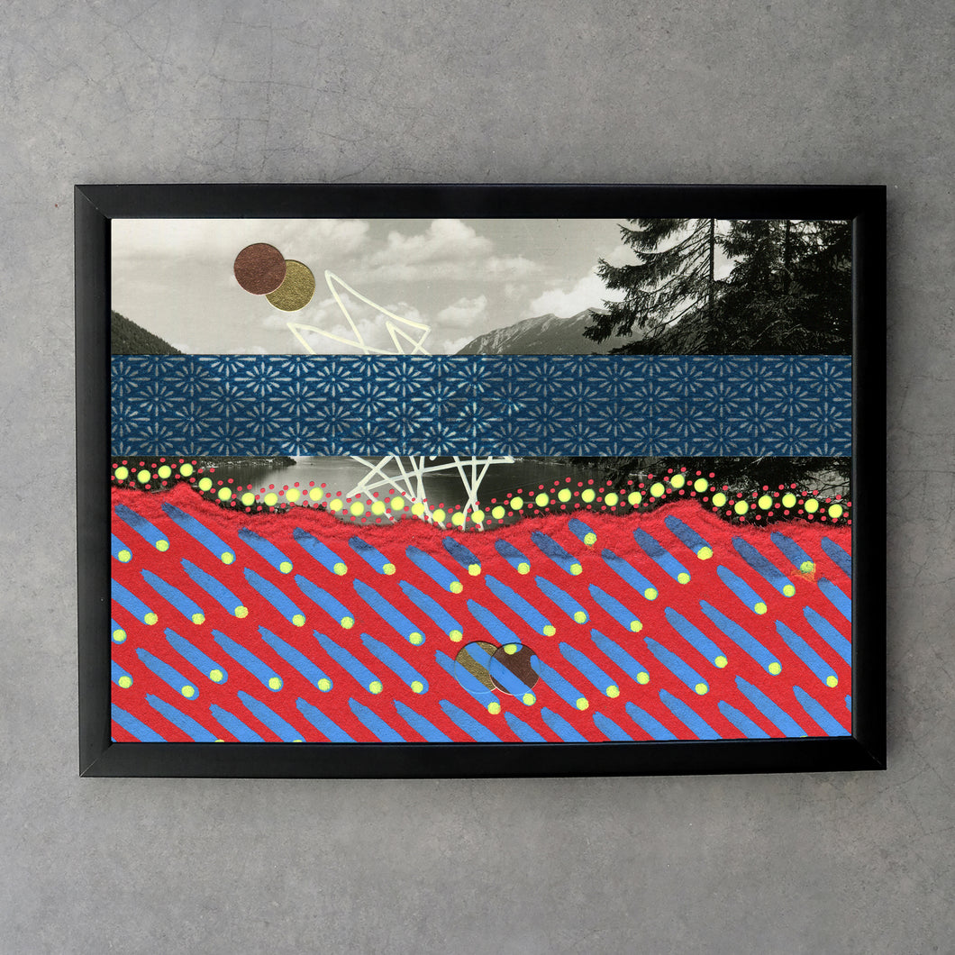 Navy Blue And Red Abstract Art On Relaxing Vintage Seascape Postcard - Naomi Vona Art