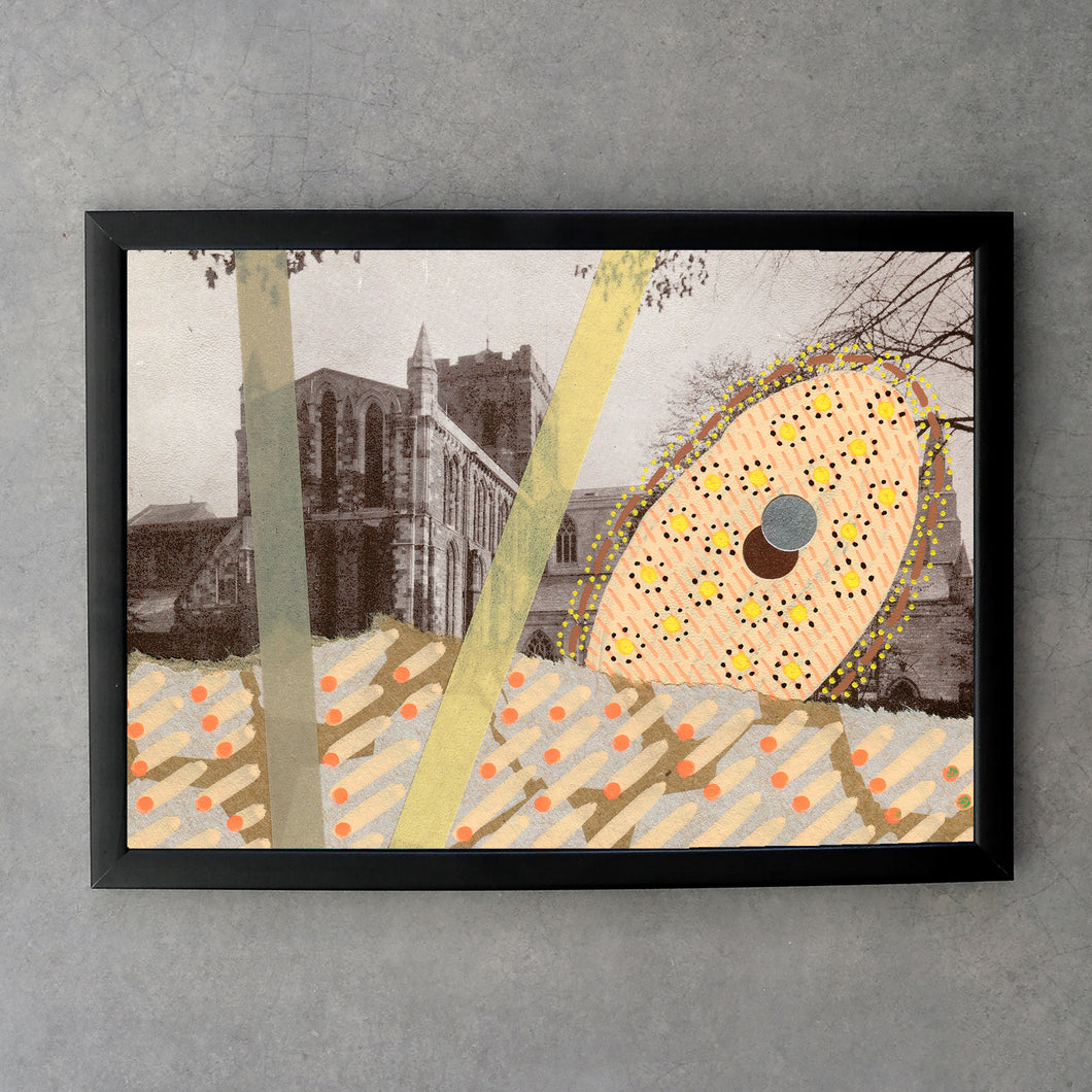 Beige Pastel Yellow Abstract Art On Vintage Church Postcard - Naomi Vona Art