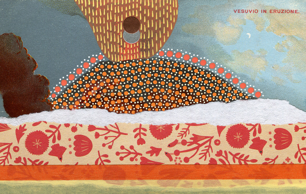 Vintage Volcan Vesuvio Postcard Mixed Media Art Collage - Naomi Vona Art