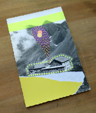 Load image into Gallery viewer, Neon Yellow And Purple Abstract Mixed Media Art Collage On Vintage Postcard - Naomi Vona Art