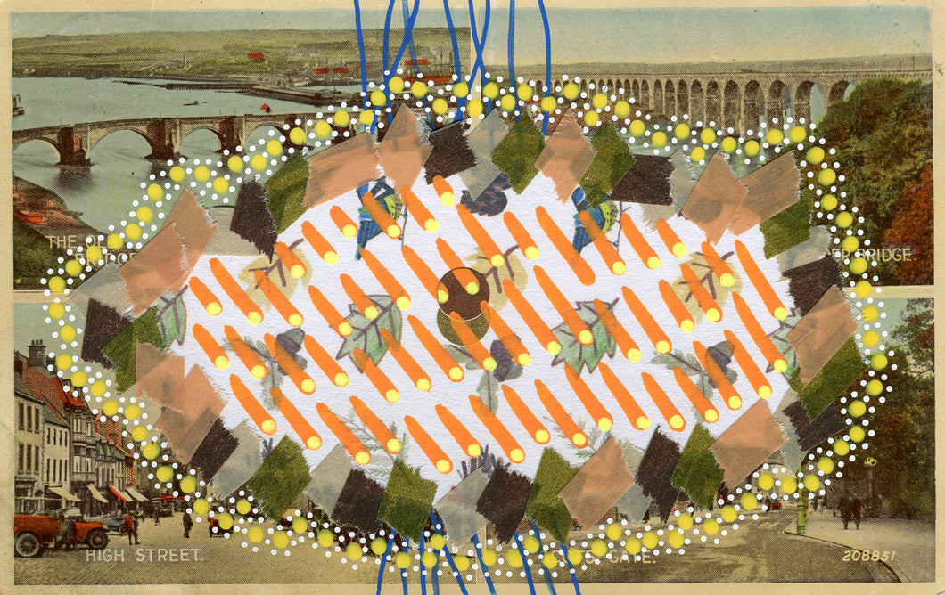 Orange And Yellow Collage Art On Vintage Postcard - Naomi Vona Art