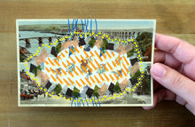 Load image into Gallery viewer, Orange And Yellow Collage Art On Vintage Postcard - Naomi Vona Art