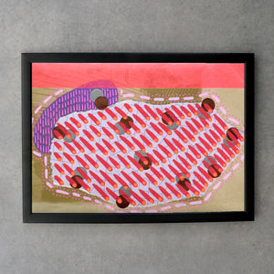 Neon Red Abstract Art Collage Print On Vintage Postcard - Naomi Vona Art
