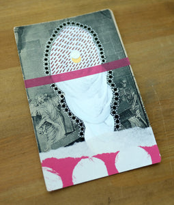 White And Burgundy Mixed Media Art Collage On Vintage Postcard - Naomi Vona Art