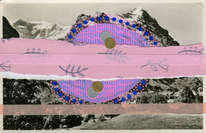 Pink And Blue Collage Art On Vintage Mountain Scape Postcard - Naomi Vona Art