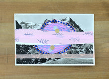 Load image into Gallery viewer, Pink And Blue Collage Art On Vintage Mountain Scape Postcard - Naomi Vona Art