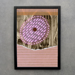 Salmon And Pastel Pink Abstract Composition On Vintage Postcard - Naomi Vona Art