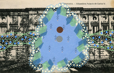 Green Light Blue Collage On Vintage Granada Postcard - Naomi Vona Art