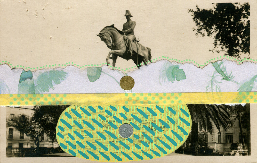 Yellow Green Collage On Vintage Monument Postcard - Naomi Vona Art