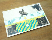 Load image into Gallery viewer, Yellow Green Collage On Vintage Monument Postcard - Naomi Vona Art