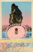 Load image into Gallery viewer, Ombre Pink, Beige And Light Blue Collage On Vintage Retro Postcard - Naomi Vona Art