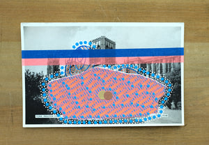 Neon Red And Blue Collage On Vintage York Minister Postcard - Naomi Vona Art