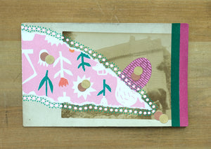 Light Pink And Green Art Collage On Retro Postcard - Naomi Vona Art