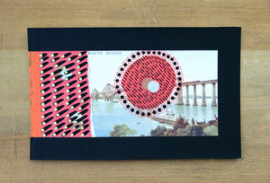 Black Red Collage Art On Vintage Forth Bridge Postcard - Naomi Vona Art