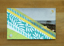 Load image into Gallery viewer, Pastel Yellow And Mint Green Abstract Collage On Retro Postcard - Naomi Vona Art