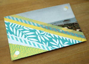 Pastel Yellow And Mint Green Abstract Collage On Retro Postcard - Naomi Vona Art