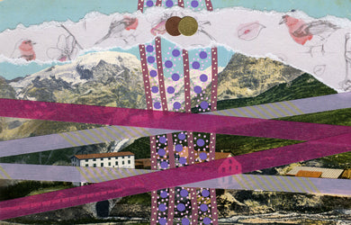 Purple, Lilac And Burgundy Collage On Vintage Mountain View Postcard - Naomi Vona Art