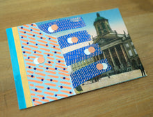 Load image into Gallery viewer, Neon Orange And Blue Collage Art On Retro Vintage Postcard - Naomi Vona Art