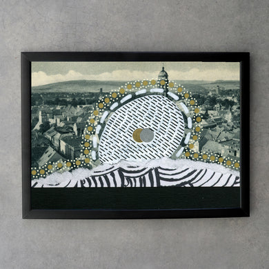 Black, White And Golden Vintage City View Collage Fine Art Print - Naomi Vona Art