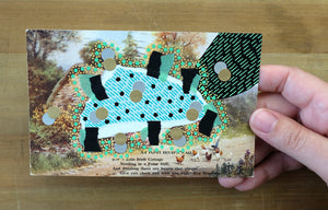 Black And Mint Green Mixed Media Collage On Vintage Natural Landscape Postcard - Naomi Vona Art