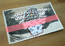 Load image into Gallery viewer, Neon Red, Black And White Art Collage On Vintage Mountain Scape Postcard - Naomi Vona Art