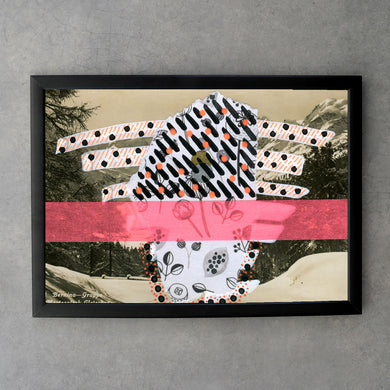 Black, White And Neon Red Fine Art Print Mixed Media Collage - Naomi Vona Art