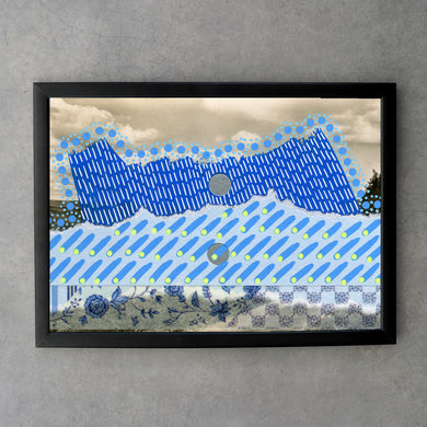 Blue Abstract Fine Art Print Collage - Naomi Vona Art