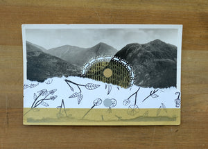 White And Gold Abstract Art Collage On Vintage Mountain Scape Postcard - Naomi Vona Art