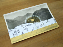 Load image into Gallery viewer, White And Gold Abstract Art Collage On Vintage Mountain Scape Postcard - Naomi Vona Art