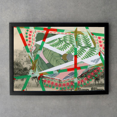 Red Green Art Print Collage - Naomi Vona Art