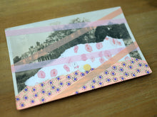 Load image into Gallery viewer, Light And Rose Pink Mixed Media Art On Retro Postcard - Naomi Vona Art