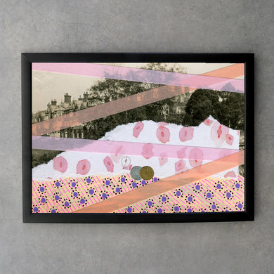 Pastel And Salmon Pink Abstraction Print On Vintage Postcard - Naomi Vona Art