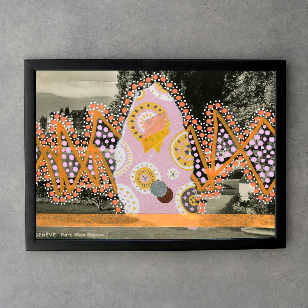 Orange Pink Dotty Art Collage Print - Naomi Vona Art