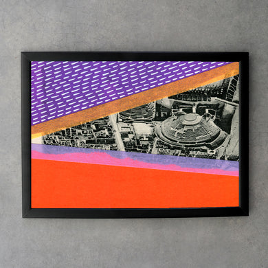 Purple And Neon Orange Art Collage Print - Naomi Vona Art